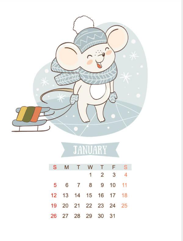 2020 calendar template with cartoon mouse