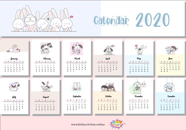 cute 2020 calendar printable pdf - printable new year calendar 2020 pdf