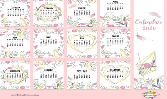 Download 2020 Calendar design one page