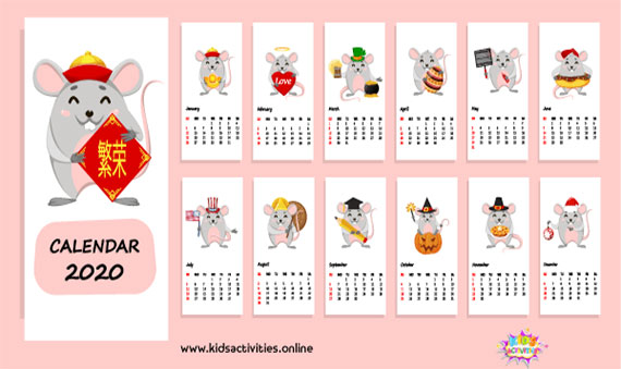 Chinese new year 2020 calendar Template PDF - Free Printable