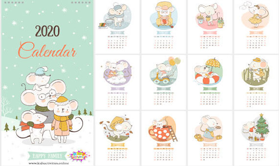 Free Printable Calendar 2020 Year With Funny Rats Design