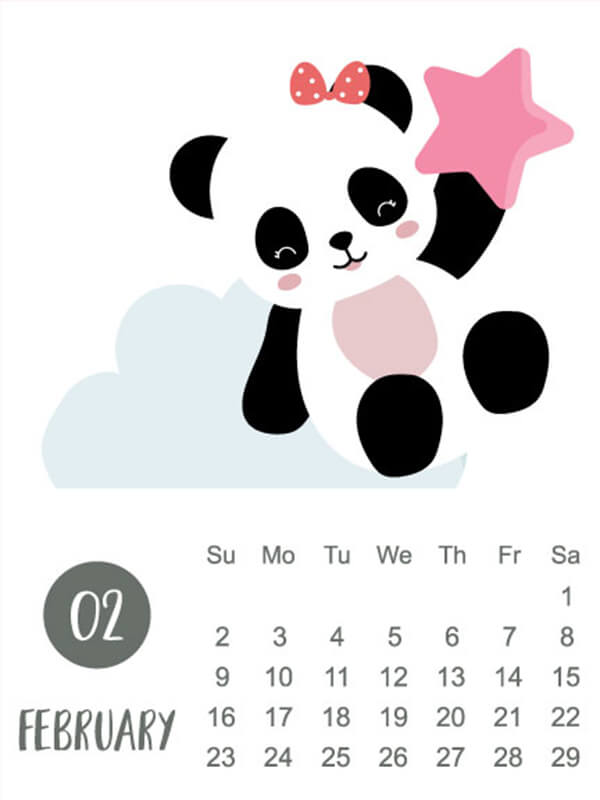 Animal calendar 2020 with panda, bear, rainbow for children : Panda wall calendar