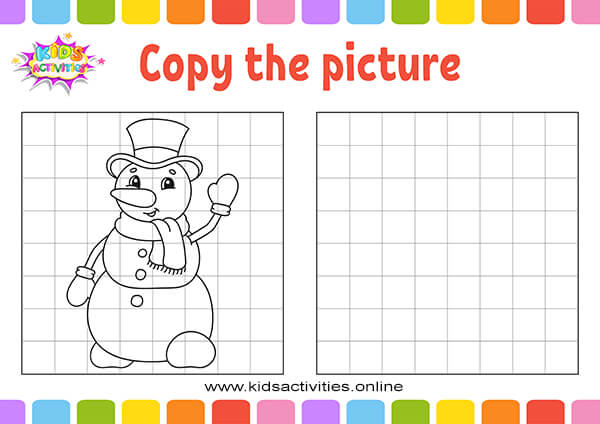 Snowman copy picture coloring book for kids