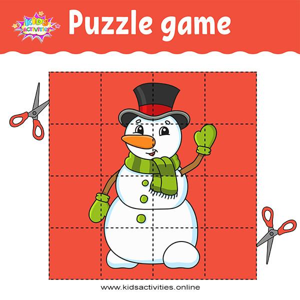Snowman puzzle printable