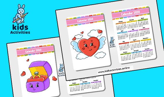 Free Cartoon Calendar 2020 Printable PDF
