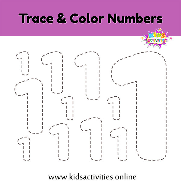printable tracing numbers - Trace & Color