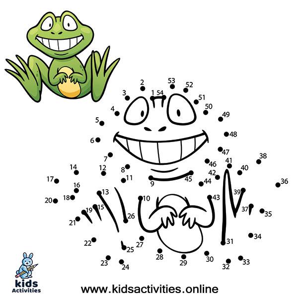 Kids game dot to dot frog