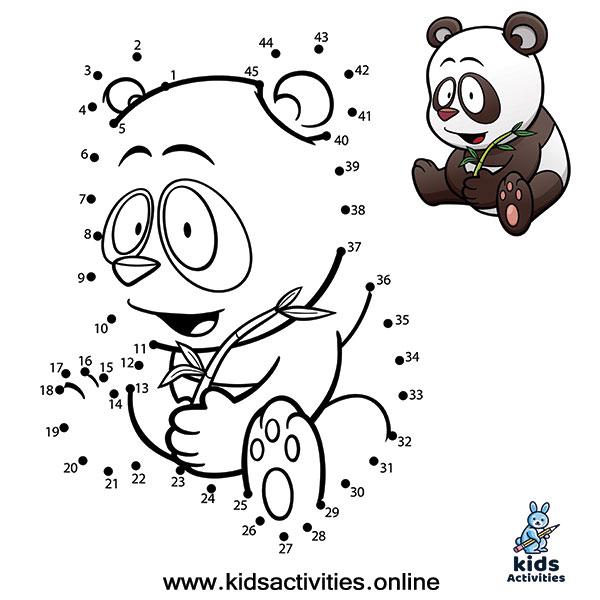 Animal Dot To Dots Printables panda