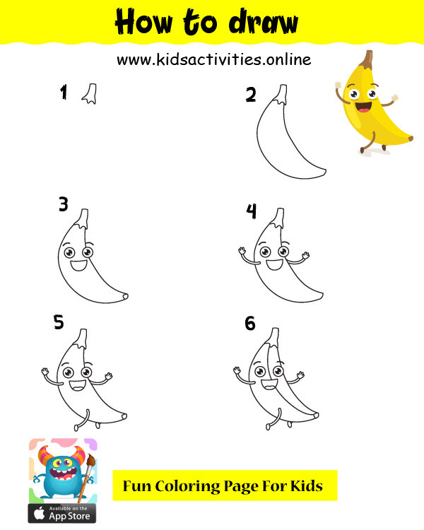 Drawing banana cute easily