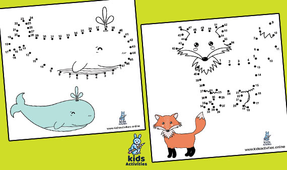 Printable connect the dots to draw cute animals
