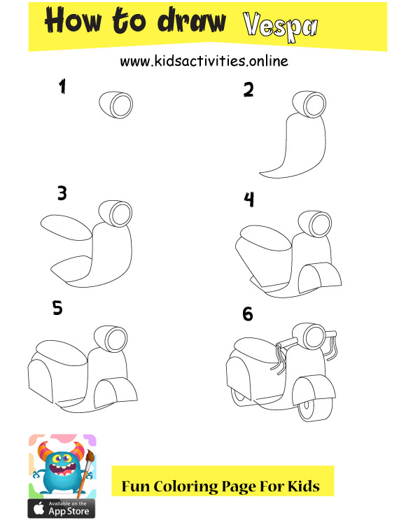 Draw motorcycle step by step