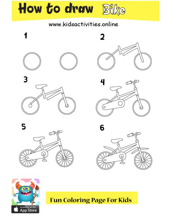 Learn to draw bike step by step