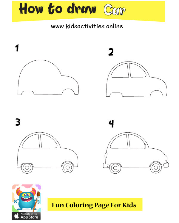 How to draw a car step by step with pictures