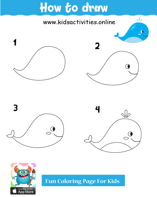 whale drawings easy