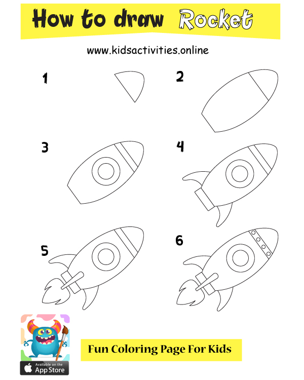 How To Draw rocket Step By Step With Pictures