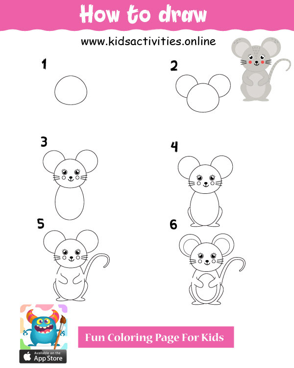 Cute drawings for kids - mouse