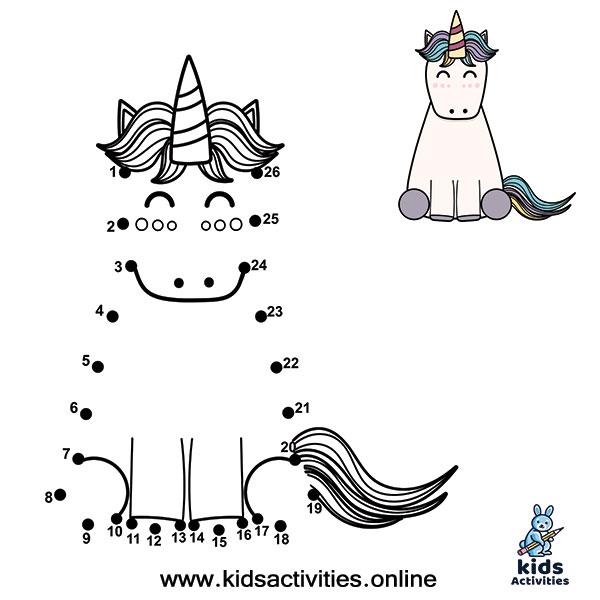 Animal Dot To Dots Printables unicorn